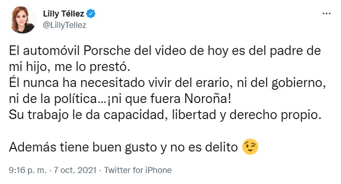 Lilly Téllez responde que le prestaron el Porsche
