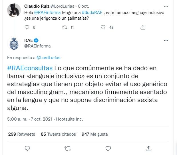 RAE rechaza lenguaje inclusivo con polémica respuesta