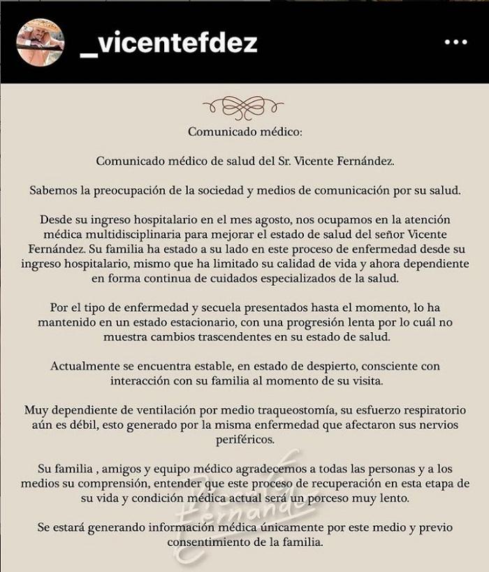 ¿Cómo se encuentra de salud Vicente Fernández?